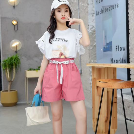China Kids Wear Girl Clothes Children Clothes The Latest Summer Girls Knitwear Suit T Shirt Printed Two Piece Suit Pure Cotton Quality Casual Shorts Suit China Girl Suit And Suit Price
