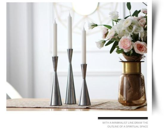 Sliver Candle Metal Holder for Christmas, Valentine′ S Day, Party Table Decor, Gift