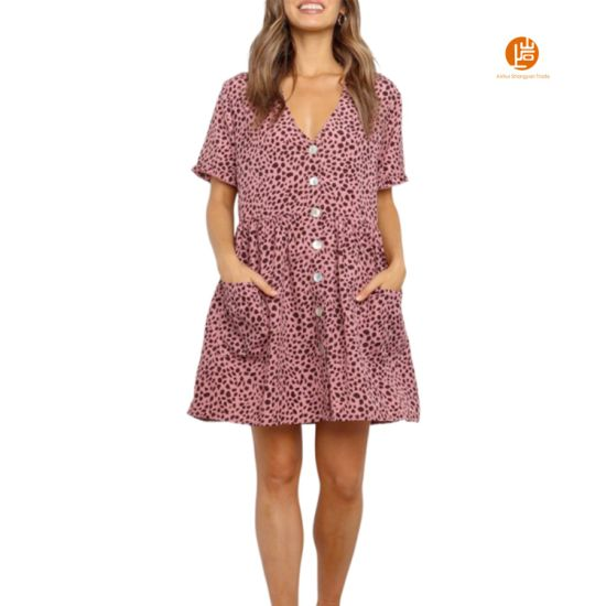 Shangyan Womens Leopard Print V Neck Short Sleeve Button up Short Dress with Pockets