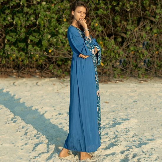Flower Printed Round Neck Beach Vacation Loose Casual Long Sleeve Dress