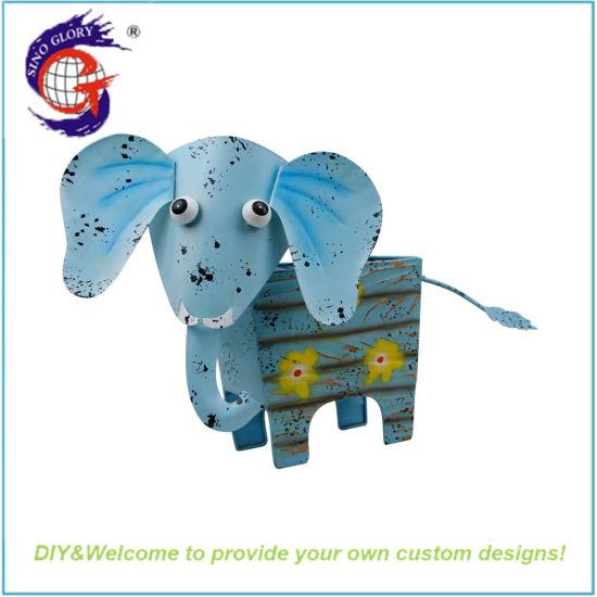 New Creative Metal Gifts Square Elephant Shape Flower Pot