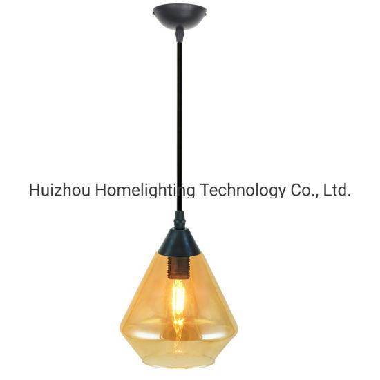 Jlc-8038 Industrial Amber Glass Shade Pendant Lamp for Kitchen Island Restaurant
