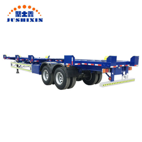 China Factory 2 Axle 40FT 70tons Terminal Port Skeleton/Skeletal Truck Tractor Container Semi Trailer for Sale