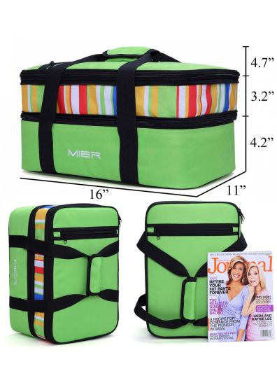 fec06035482633 Expandable Insulated Double Casserole Carrier Thermal Lunch Tote Bag for  Potluck Parties, Picnic, Beach