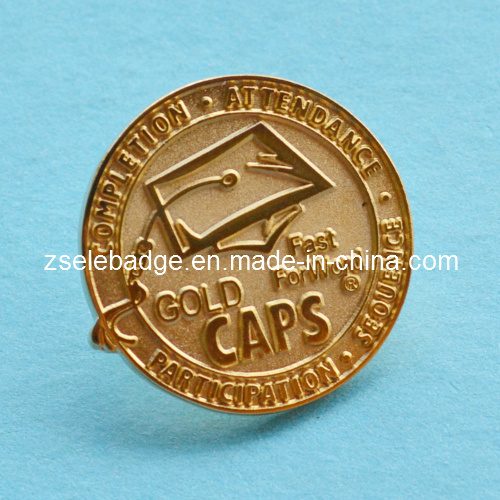 Custom Sandblasted Gold Lapel Pin Ele P061