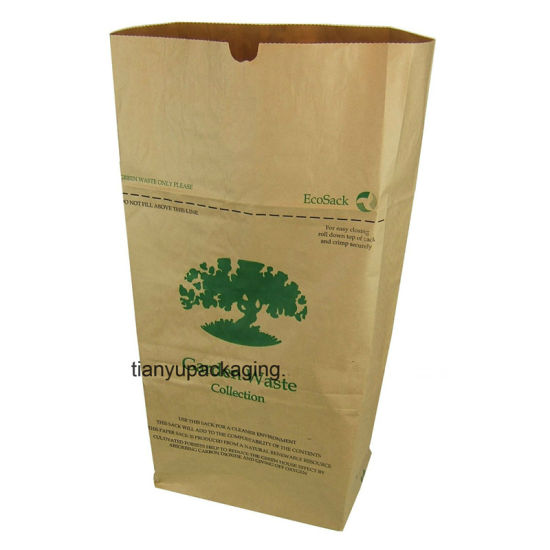 Factory Manufacture Brown Kraft Paper Bag for Leaf Trash pictures & photos