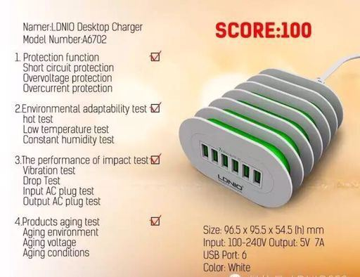 Ldnio 6 USB Port Home Charger 100-240V 5V 7A USB Multi Phone Charger pictures & photos