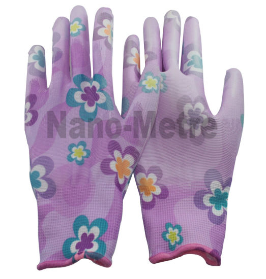 Nmsafety Flower Printed Polyester Liner Coated PU Gardening Glove