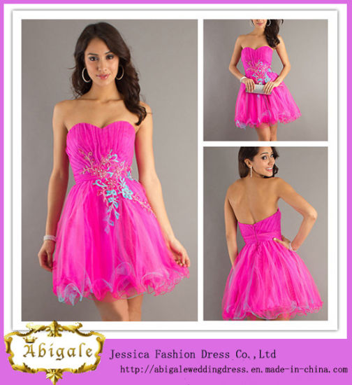 High Quality Tulle with Appliques Sweetheart and Lace up Back Mini Ladies Graduation Dresses (LH0073)