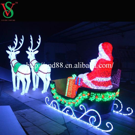 Christmas Life Size Led Reindeer Sleigh