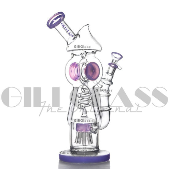 Giliglass 11.5 Inches Unique Glass Recycler Slitted Donut Perc Oil DAB Sidecar Water Pipes Christmas Gift