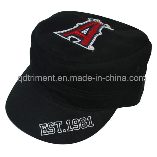 5bb5721cd8ebf Washed Print Raw Edge Applique Embroidery Military Cap Hat (TRM019)  pictures   photos