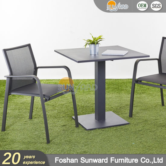 Wholesale Customized Garden Hot Sale Resort Hotel Outdoor Leisure Patio Dining Restaurant Aluminum Balcony Textliene Fabric Chair and Table Furniture