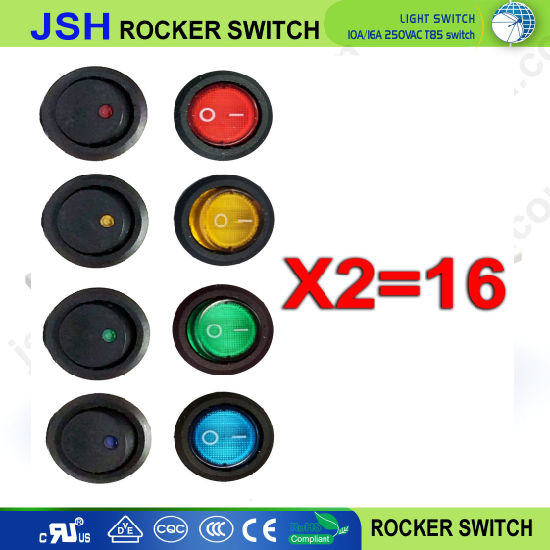 Autos DC12V 4-Color LED Round DOT Light 3-Pin Rocker on/off Toggle Switch