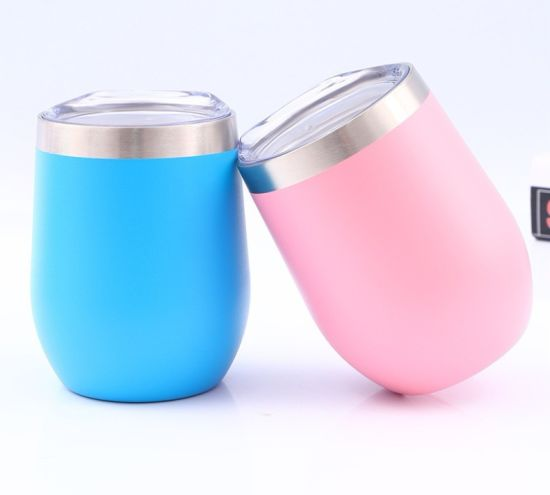 Colorful Stainless Steel Insulated Tumbler Double Walled Straw Custom Stemless Mug Wine Cup with Lid