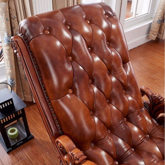 Leather Rocking Chair With Wood Ottoman