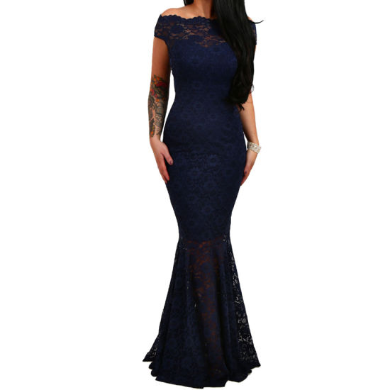 Wholesale Women Black Bardot Lace Fishtail Maxi Evening Dress pictures & photos