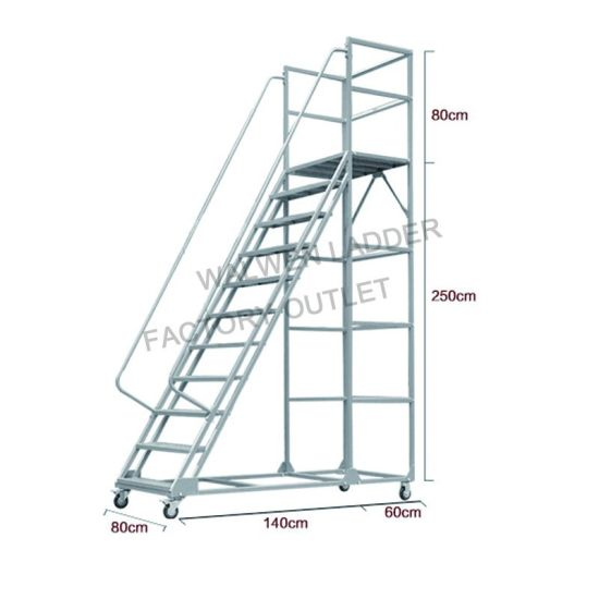 Cheap Price Movable Buy Tall Steel Ladder Supermarket Platform Step Folding  Ladder