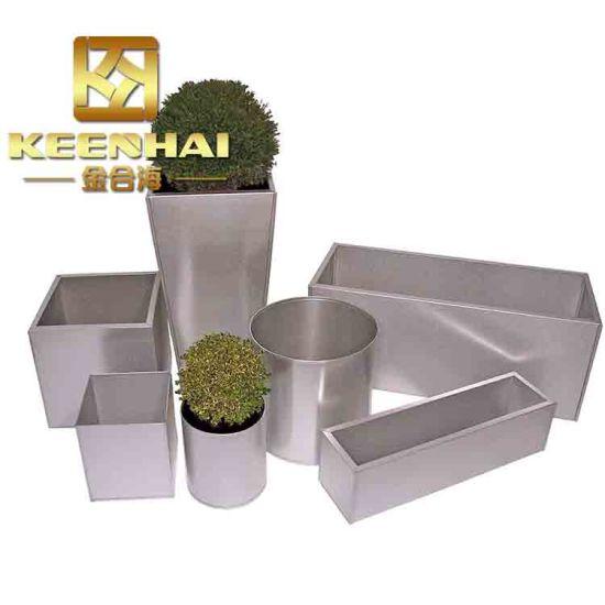 China Outdoor Stainless Steel Garden Planter Box Rectangular Flower