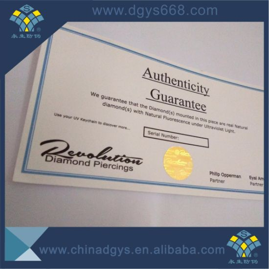Hot Stamping Hologram Certificate with Two Sides Printing