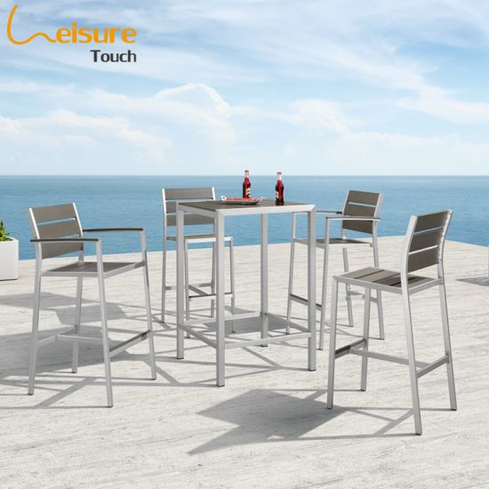 Modern Brushed Aluminum Garden Furniture Outdoor Bar Set with High Table and Stools for Home - Praha