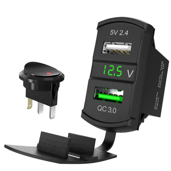 12V Dual USB Auto Boat Socket Rocker Switch Panel with Voltage Voltmeter Green