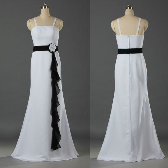 Spaghetti Straps White and Black Chiffon Prom Evening Party Bridesmaid Dress for Girl Women