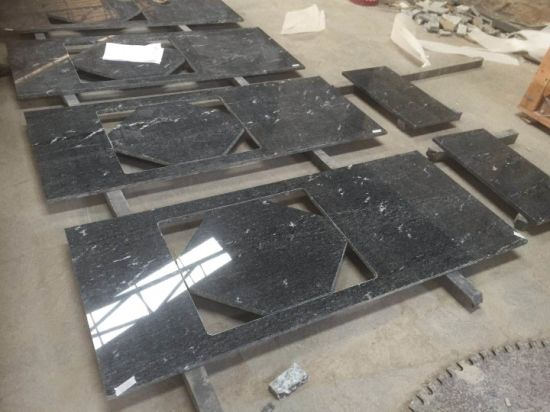 High Quality Cloud Black Granite Vanity Top for Kitchen Bathroom pictures & photos