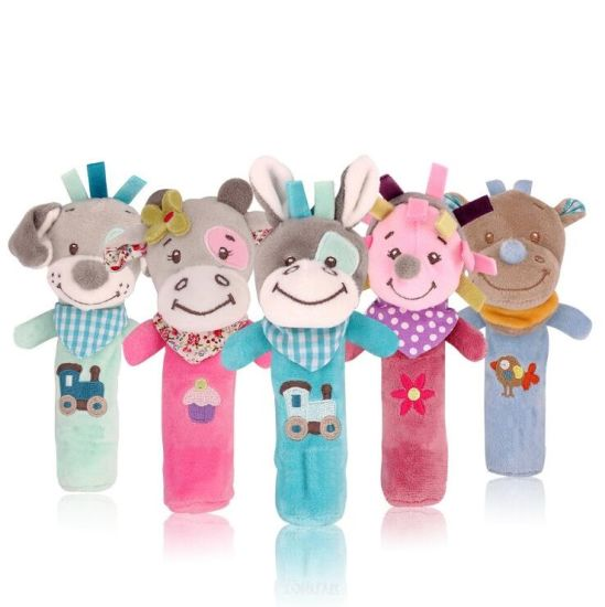 Cartoon Stuffed Animal Baby Soft Plush Hand Rattle Squeaker Sticks for Toddlers