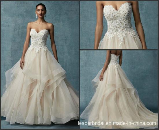 Champagne Bridal Ball Gown Strapless Lace Organza Wedding Dress M9012. Get  Latest Price 83c3fb9e90e2