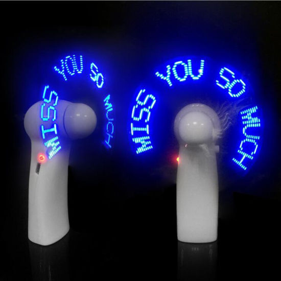Promotional Portable Hand Held Programmable Custom LED Message Mini Fan pictures & photos