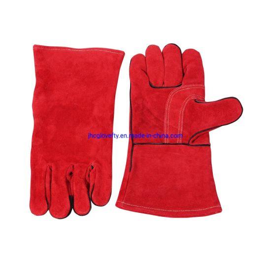 Red Color Side Split Welding Work Glove