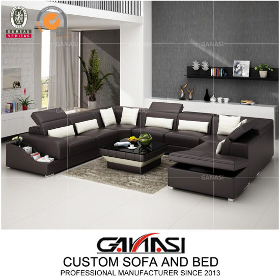 U-Shape Office Commercial Wholesale Storage Leather Sofa with Coffee Table pictures & photos
