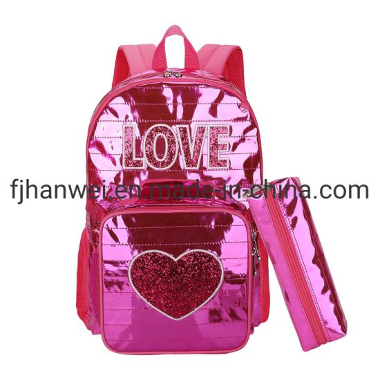 New Design Hot Sale Shiny PVC Girls School Bag with Cooler Bag and Pencil Bag