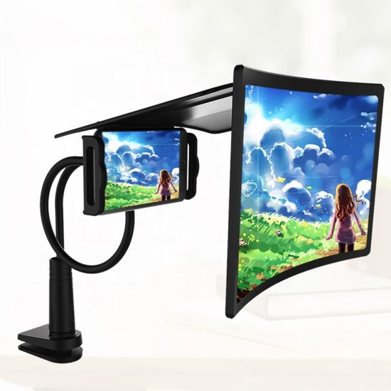 Amazon Curved Screen Lazy Bracket Bedside Section Phone Screen Magnifier 12 Inch Mobile Phone Screen Amplifier for Video Player