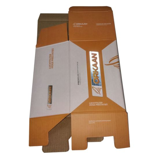 Bright Orange Folding Paper Carton Box with Silver Stamp for Packing