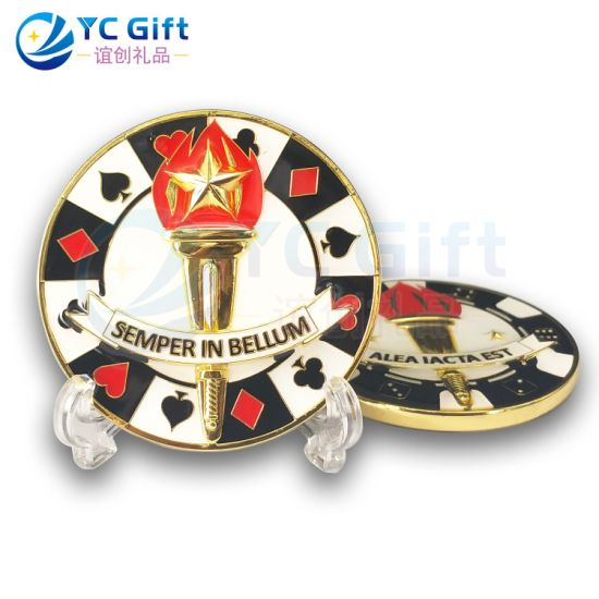 Maker Custom Epoxy Metal Craft 3D Playing Card Logo Souvenri Coins Promotional Gift Historic Culture Commemorative Coins for Collectors