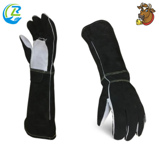 Full Palm and Thumb Reinforcement Cut Puncture Resistance Long Gloves Leather Black