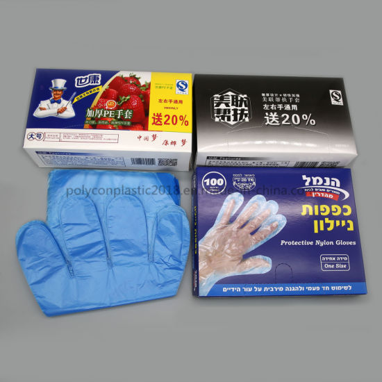 Kitchen Box-Packed 100 Disposable Gloves Catering Food Plastic Transparent PE Gloves