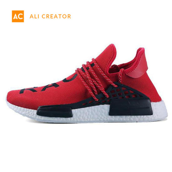 wholesale dealer fef62 a7ab6 2019 Nmd Human Race Mens Running Shoes with Box Pharrell Williams Sample  Yellow Core Black Sport Designer Shoes Women Sneakers 36-45