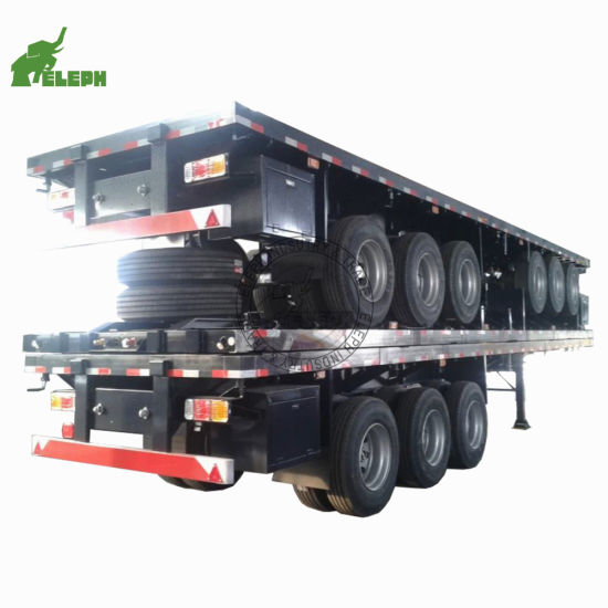 3 Axles 40FT Container Trailer Flat Bed Truck Trailer 20FT 40foot Container Flatbed Semi Trailer