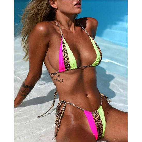 2019 New Hot Sale Sexy Swimwear Halter String Leopard Print Bikini