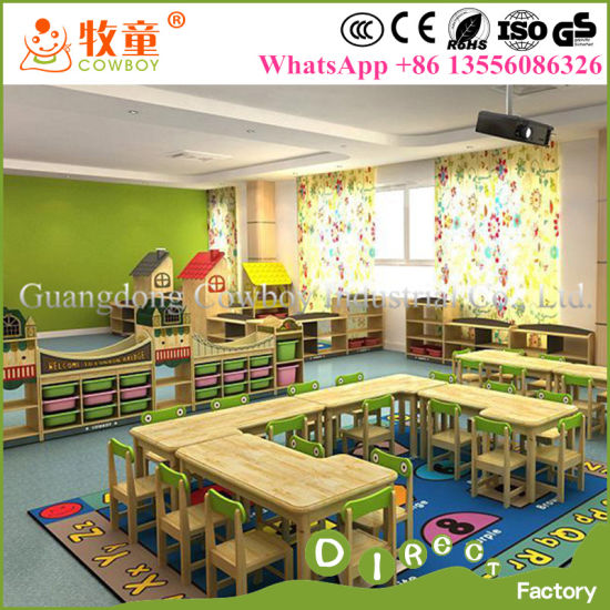 Kids Wooden Desk And Chairs Sets Wood Nursery Classroom Furniture