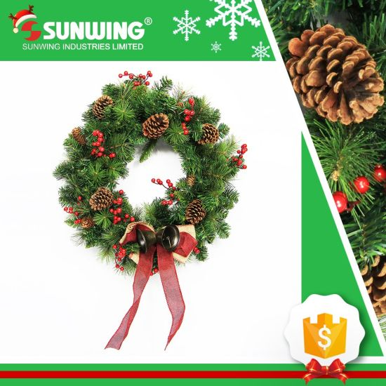 2017 wholesale cheap artificial christmas wreaths for outdoor decoration - Artificial Christmas Wreaths Decorated