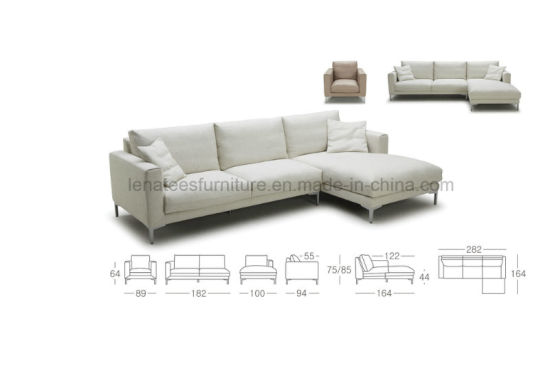 Ls0606 Fancy Fabric Corner Sofa with Chrome Legs pictures & photos