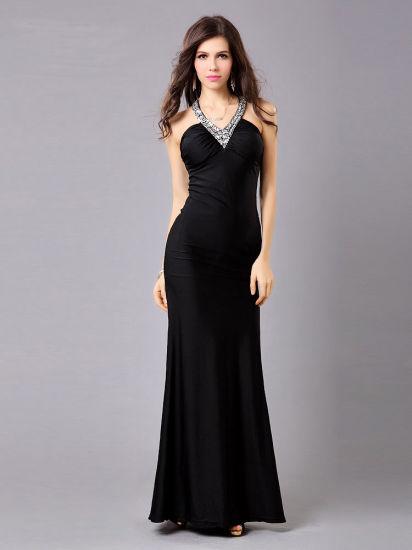 2020 New Ladies Elegant Black Dress
