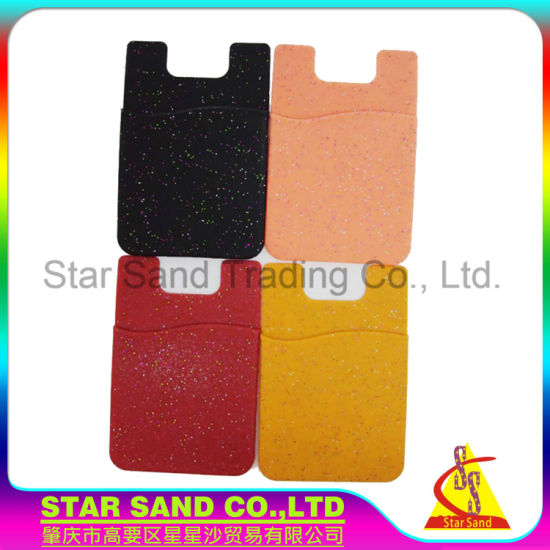 Environmental 3m sticker silicone business card phone stand holder wallet