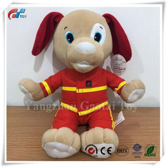 Custom Design Uniform Stuffed Dog Toy with Firemen Uniform Plush Toy