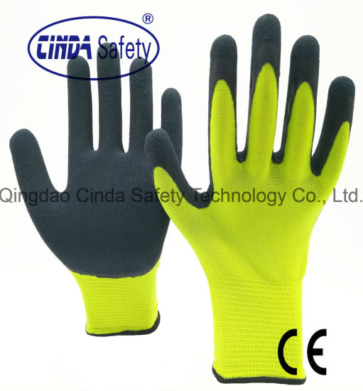 HI Vis Working Gloves Comfort Foam Grip Latex Gardening Protective Safety 10//XL