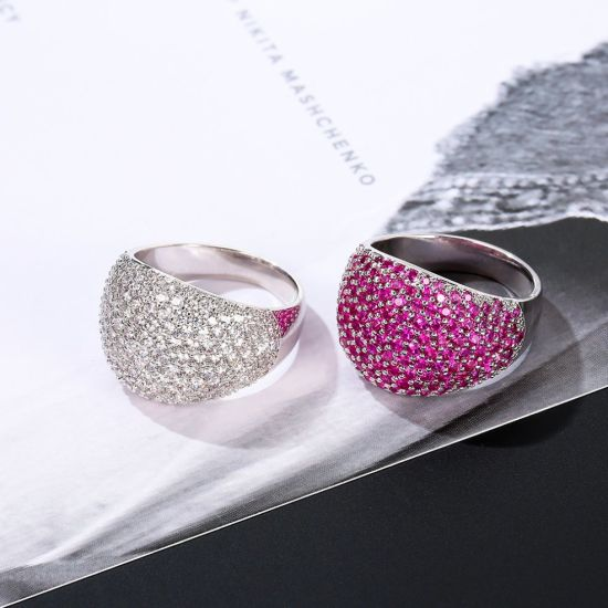 New Item White Gold Pink Color Crystal CZ Finger Ring pictures & photos